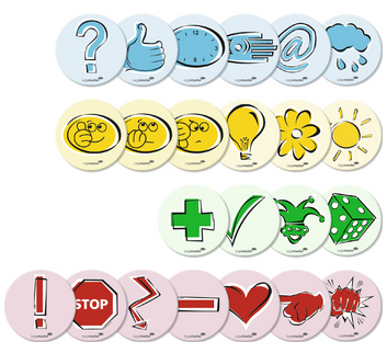 Legamaster workshop card emoticon 95mm symbols assorted 250pcs - 001