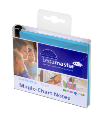 Legamaster Magic-Chart notes 10x10cm blauw 100st - 001