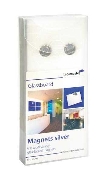 Legamaster glassboard magnet silver 6pcs - 001
