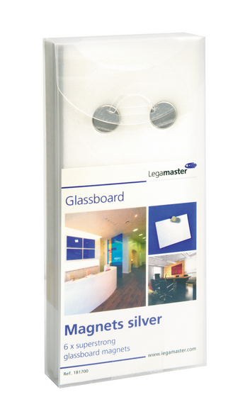 Legamaster glasbord magneet zilver 6st - 001