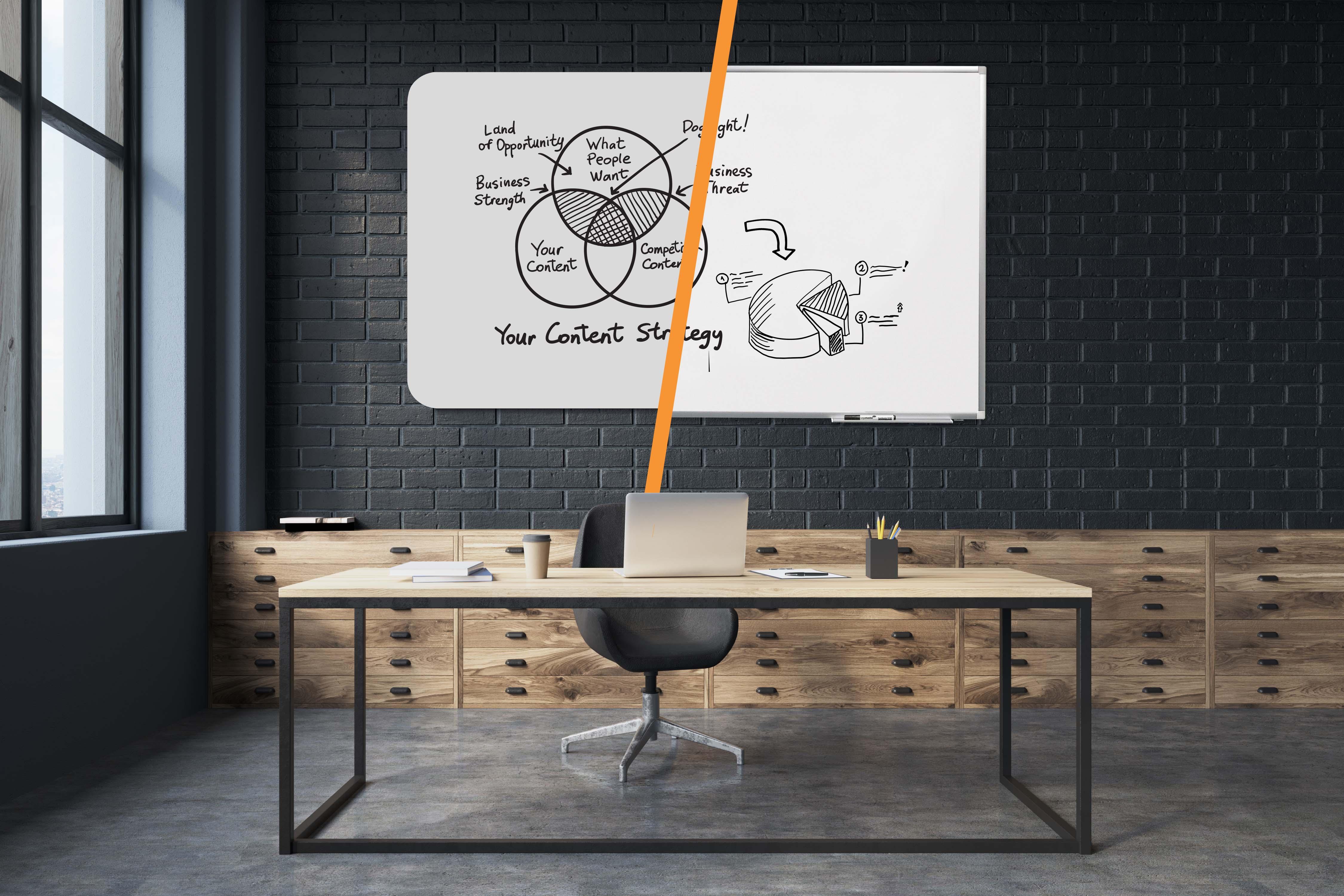Fotomontage zeigt rahmenloses Whiteboard neben Whiteboard mit Rahmen