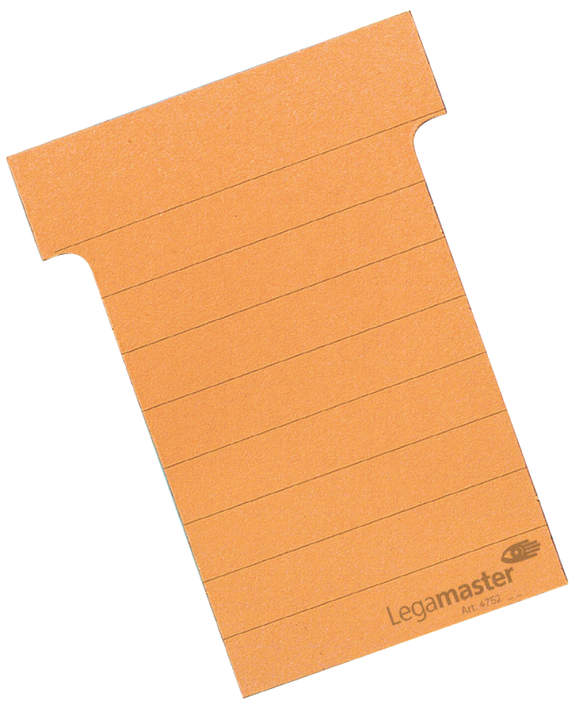 T-kaart middel 70 mm 100 stuks oranje